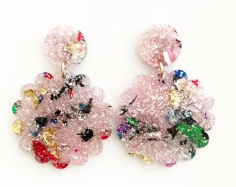 SCALLOP drop earrings. Pink and rainbow confetti glitter acrylic.
