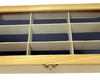 15 X 8 X 2-1/2 Inch Pine Wood Display Box With 9 Divided Sections And Clear Lid: TJ05-11147