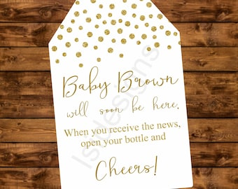 Gold Baby shower tag, personalized confetti gold baby is coming tag , printable baby shower gift tags, mini champagne bottle favor tags