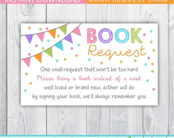 book request / book request baby shower / book request card / bring a book instead of a card / bring a book baby shower insert / INSTANT