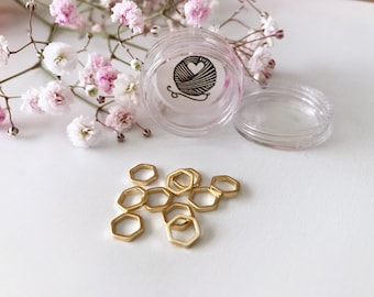 Luxe small hexagon stitch markers - gold (set of 10)