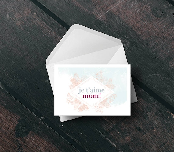 MOTHER'S DAY // Card, Scandinavian Design, printable card, Pastel colors, abstract art, je t'aime mom