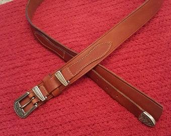 "Vintage Leather Belt Tan St Michael 36"" to 38"""