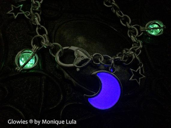 Lavender Glass Purple Crescent Glowing Moon Stars Magic Galaxy Link Charm Bracelet Luna Celestial Space Violet Glow in the Dark Handmade