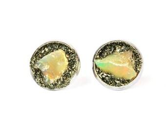 Raw Birthstone Jewelry, Opal Studs, Opal Earrings, Opal Earrings for Women, October Birthstone, Opal Stud Earrings, Gold Opal Earrings