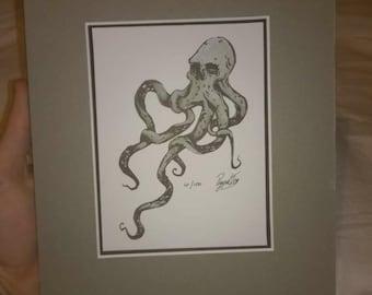 Original art print - gothic Skull Octopus - Signed