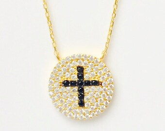 Cross Necklace, in Gold Plated .925 Sterling Silver and Zirconia • Safe to Get Wet • A Beautiful Cross Gift at an Affordable Price