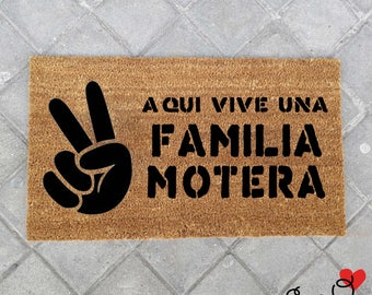 """Doormat """"Here live a biker family"""""""
