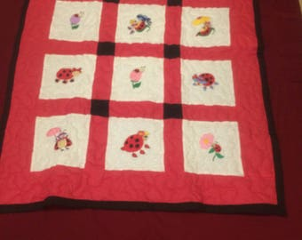 Ladybug Red and Black Baby Quilt