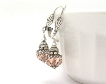 Peach Earrings Czech Glass Beaded Dangle Drop Antiqued Silver Plated Nickel Free Lever Back and Clip On
