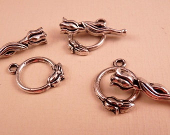 Silver Toggle Clasp Rose Clasp Silver Findings Silver Clasp Rose Clasp Silver Rose Flower Clasp Silver Beads Silver Flower Clasp