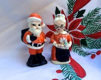Vintage Christmas Santa & Mrs. Claus 1950s Ceramic Xmas Figurines