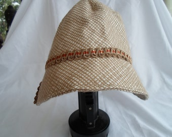 Textured linen cloche hat