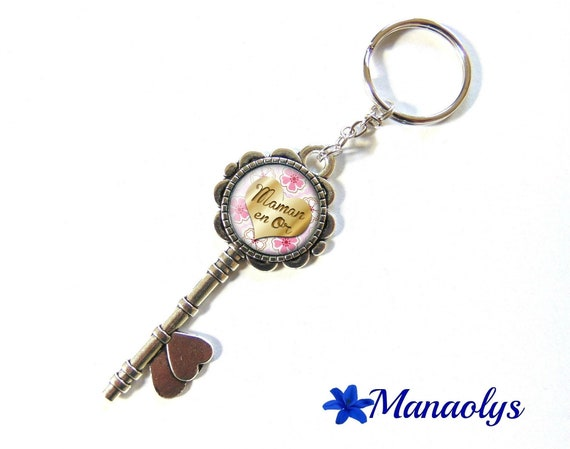 Key ring or jewelry bag, silver key and glass, gold, pink flowers 125 MOM cabochons