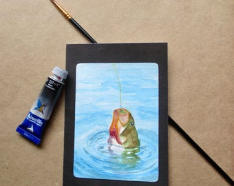 Original Watercolor fishing-bass-sportsman Blank Note Card