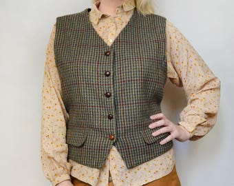 Vintage 70s - 80s 100% Warm Wool Plaid Checkered Brown Wood Buttons Adjustable Back Belt Retro Vest - Large