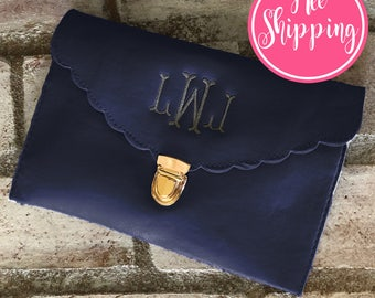 NAVY CLUTCH BAG - Monogrammed Clutch - Bridesmaid Clutch - Bridesmaid Gift - Wedding Favor - Makeup Bag - Monogram Bag - Personalized Gift