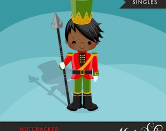 Nutcracker Clipart, Christmas graphics, Toy Soldier illustration, cute character, commercial use, scrapbooking, embroidery, african american