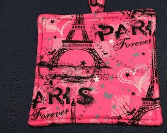 Paris Potholder - France Potholder - Pink Potholder
