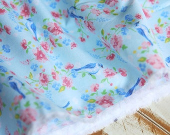 1 x 110x50cm cotton 100% Blue Bird and flower sewing fabric
