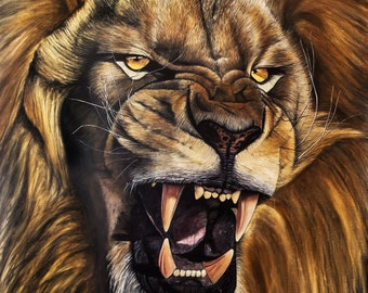 Lion roar oil painting