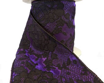 """Black Lace On Purple Satin Wired Ribbon  4"""" Wide"""