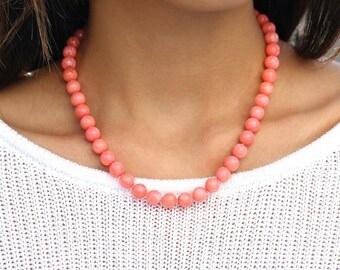 Beaded Coral Necklace, Genuine Salmon Pink Coral, Pastel Pink Coral Jewelry, Vintage Inspired,925 Sterling Silver Lobster Clasp,Gift for Her