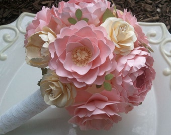 Paper Bouquet - Shabby Chic - Wedding Bouquet Set - Pink and Ivory - Custom Made - Any Color