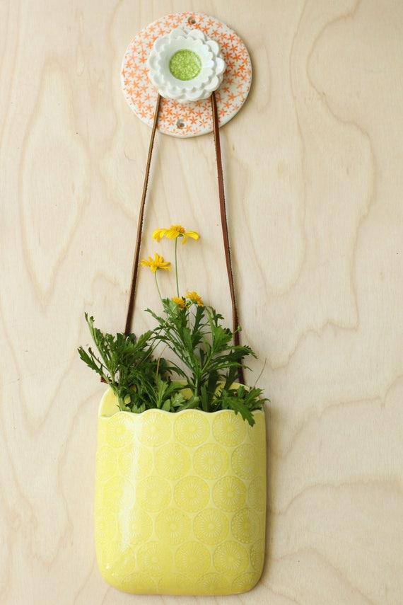 porcelain orange and green wall hook