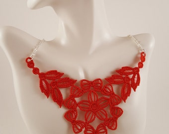 Red lace necklace Lace jewelry Gifts for her Bridesmaids gifts Gifts for wife Red necklace Bib Necklace Statement necklace Gift for mom