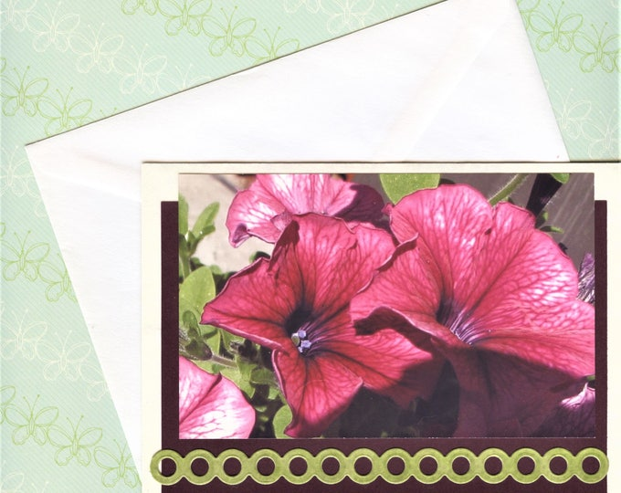 PHOTO FLOWER CARDS; blank cards, set of four, hand made, From the Garden Series, enhanced, 5 x 7 inch with envelopes,