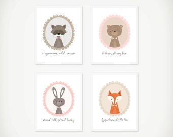 Woodland Nursery Wall Art Printable Instant Download, Girl Be Brave Fox, Bear, Bunny Inspirational Quote, Baby Shower Gift, Bedroom Decor
