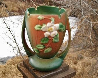 Roseville Pottery White Rose Vase, Vintage American Art Pottery, Matte Green & Tan, Cottage Chic