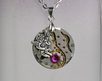Watch movement  Steampunk   Pendant with Fuchsia Swarovski crystal  ,  Steampunk Jewelry , Steampunk Jewelry , Clockwork Pendant