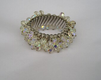 Pretty Vintage Faceted AB Crystal Wide Stretch Cha Cha Bracelet