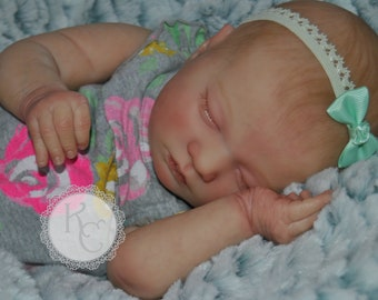 Reborn Baby Girl Laila Doll  **Complete and Ready to Ship** Caucasian Realborn female baby Sleeping doll with painted hair