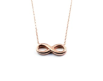 Rose Gold Infinity Pendant and Necklace