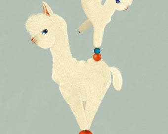 Alvin & Alice the Acrobatic Alpacas - art print