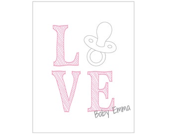 """Baby Girl card set - """"Pacifier LOVE"""" (set of 20 cards & envelopes) - CUSTOMIZABLE!!"""