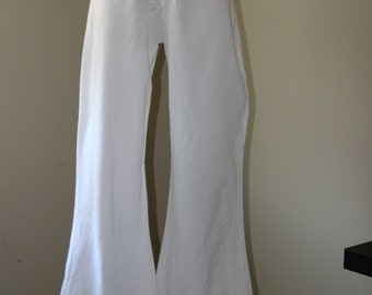 Vintage 70's White Linen Bellbottom Sailor Pant with Lace up Front Enlosure
