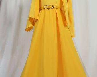 Vintage Yellow Maxi Dress w/ Orig Sweater & Belt