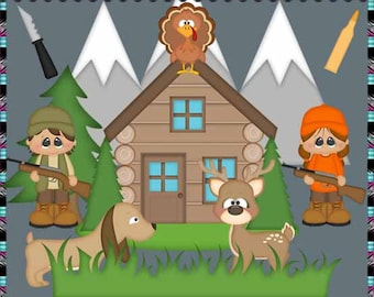Hunting Season, Deer, Turkey, Cabin, Outdoors, Hunter - Instant Download - Commercial Use Digital Clipart Elements Set
