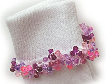 Kathy's Beaded Socks - Pinks and Purple socks, girls socks, purple socks, toddler socks, blue socks, tri bead socks, pink socks, tri beads