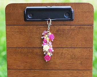Roses Beaded Key Fob