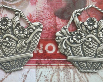 TWO Neo Victorian flower basket charms, Brass Ox, Brass Stampings made in the USA for jewelry making and crafting