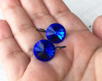 Blue Earrings, Crystal Earrings, Royal Blue Earrings, Swarovski Earrings, Swarovski Crystal Earrings, Sensitive Skin, Bridesmaid Earrings