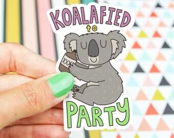 Koala Vinyl Sticker, Koalafied To Party, Birthday Gift, Cute Animal Stickers, Beer, Koala Art, Yeti Decal For Men, Vinyl Decal, Tumbler, Car