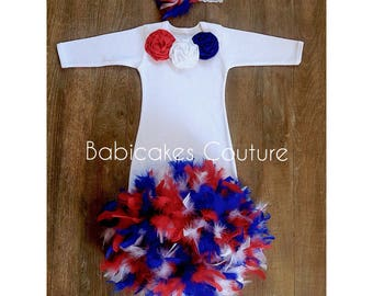 Babys 1st 4th of July, 4th of July Baby Outfit, Feather Layette Gown, Feather Baby Gown Feather Sleeper Gown Feather Baby Dress Patriot Baby
