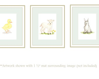 Classic Watercolor Nursery Art 8x10 Prints; Baby Room Art; Watercolor Lamb Art; Watercolor Duckling Art; Watercolor Bunny Art; Baby Art