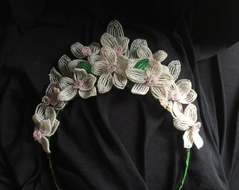 Reserved. Please do not purchase: Antique handmade beaded flower tiara headpiece for bride, wedding or races